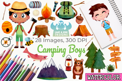 Camping Boys Watercolor Clipart, Instant Download Vector Art