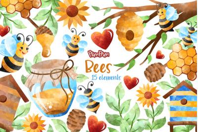 Bees Watercolor Cliparts