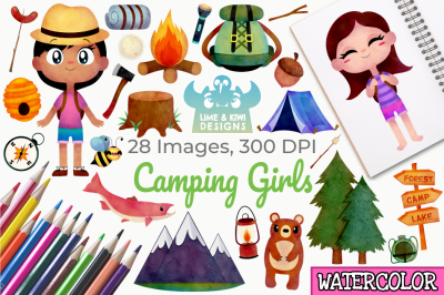 Camping Girls Watercolor Clipart, Instant Download