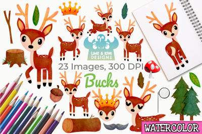 Bucks Watercolor Clipart, Instant Download Vector Art