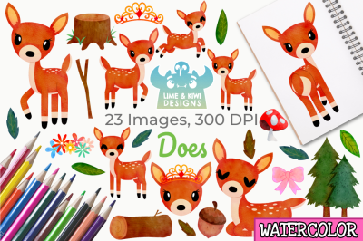 Does Watercolor Clipart, Instant Download Vector Art