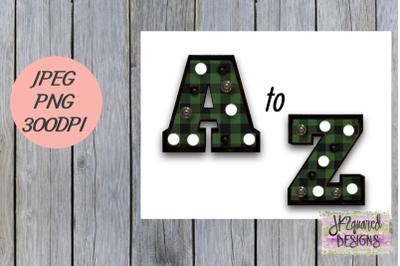 Green Plaid Marquee Alphabet