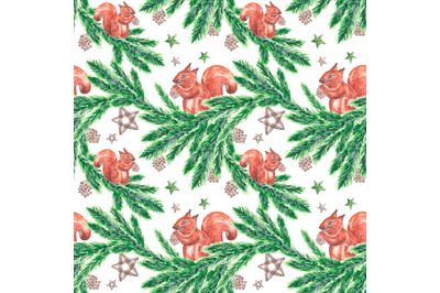 "Watercolor Christmas pattern ""Squirrel on the branches of spruce."""
