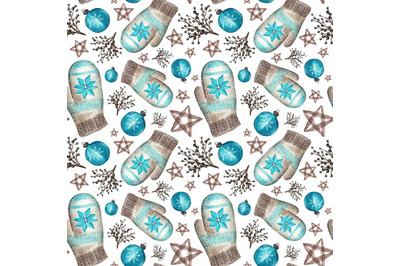 "Watercolor seamless pattern ""Cozy Christmas"""