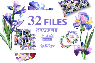 Blue Irises PNG watercolor flowers set