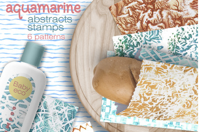 AQUAMARINE Abstract Stamp Patterns