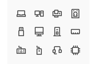 Computer icons set bold line style design, Simple and clean.