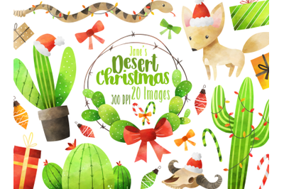 Watercolor Desert Christmas Clipart