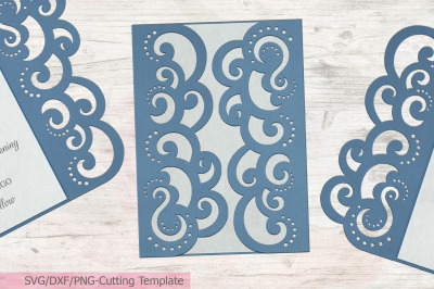 Quinceanera Gate Fold wedding invitation svg dxf laser cut  template