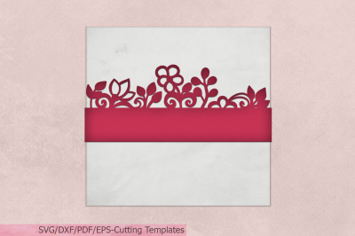 Floral Belly Band Gift Wrapper svg dxf pdf laser cut Wedding