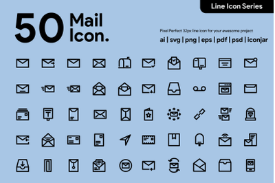 50 Mail Line Icons