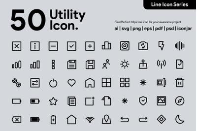 50 Utility Line Icons