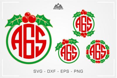 Christmas Holly Berry Wreath Monogram Frame Svg Cuttable Design