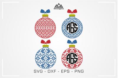 Aztec Christmas Bulb Monogram Frame Svg Cuttable Design