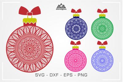 CHristmas Bulb Mandala Svg Cuttable Design