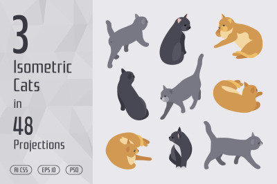 3 Isometric Cats