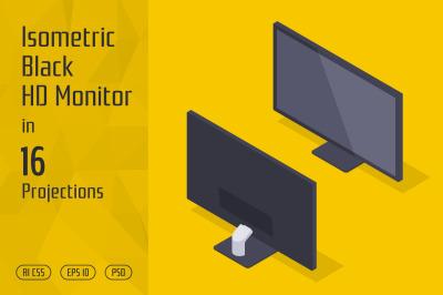 Isometric Black HD Monitor