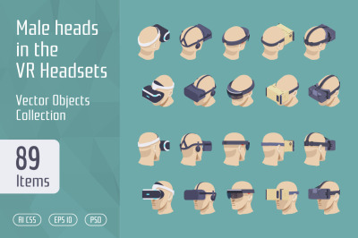 Male heads in the VR Headsets