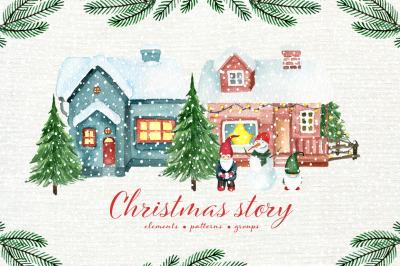 Christmas story. Watercolor set