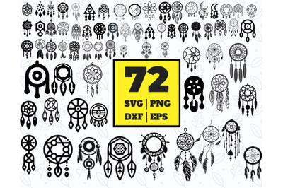 72 DREAMCATCHER SVG BUNDLE - dreamcatcher clipart - dreamcatcher