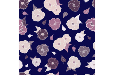Purple poppy flowers and leaves seamless pattern