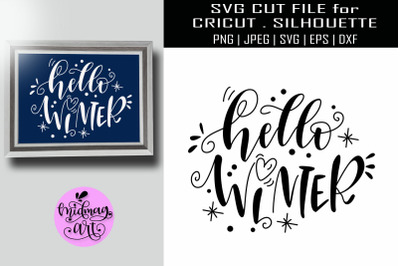 Hello winter svg, winter sign svg