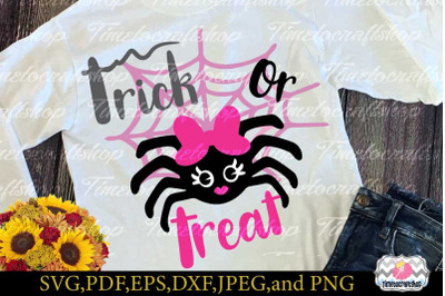 SVG, Eps, Dxf & Png Cutting Files For Halloween Trick or Treat Spider