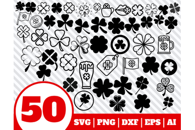 50 CLOVER SVG BUNDLE - Shamrock clipart - St Patricks Day vector