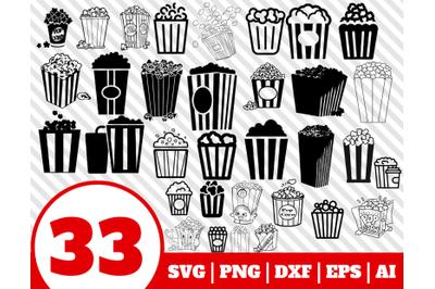 33 POPCORN SVG BUNDLE - popcorn clipart - popcorn vector - pop corn