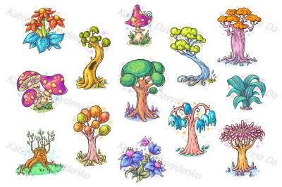 Set of different cartoon trees, vector