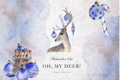 Watercolor Forest Deer and Cinnamon