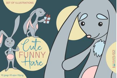 Cute funny HARE