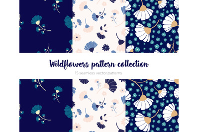 Wildflowers seamless repeating pattern collection