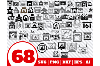 68 FIREPLACE SVG BUNDLE - fireplace clipart - fireplace vector