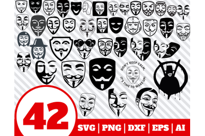 42 ANONYMOUS SVG BUNDLE - Guy Fawkes mask clipart - Guy Fawkes vector