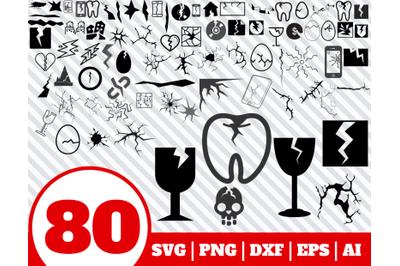 80 CRACK SVG BUNDLE - Crack clipart - Crack vector - Crack cricut