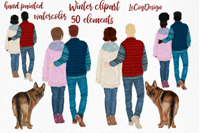 Couples Clipart Winter Boy and Girl Dog Family Mrs and Ms