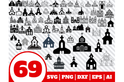 69 CHURCH SVG BUNDLE - church clipart - church vector - church cricut