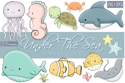 Under The Sea | Cartoon Sea Creatures | 13 Clip Art Elements