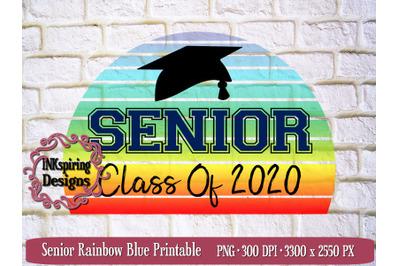 Senior Rainbow Blue PNG Sublimation Design