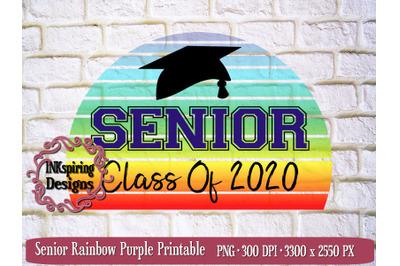 Senior Rainbow Purple PNG Sublimation Design