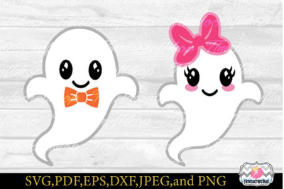 SVG, Eps, Dxf & Png Cutting Files For Ghost Boy & Girl Cricut and Silh