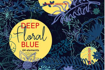 Deep FLORAL Blue