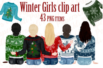 Girl best friend clipart,Winter clipart,Christmas clipart