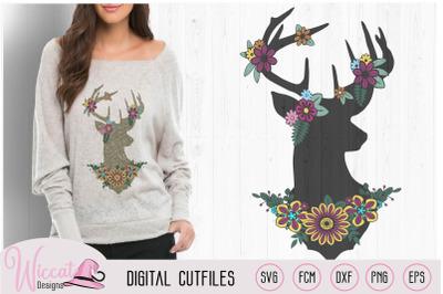 Flower Deer, Silhouette Deer, Reindeer svg,