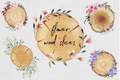 Wood Slices Watercolor Clipart