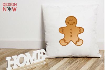 Gingerman Applique Design, Christmas Embroidery Design, Holiday Design