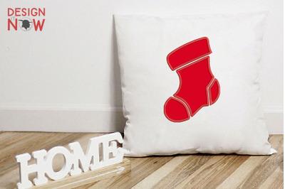Santa Sock Applique Design, Christmas Embroidery Design, Holiday