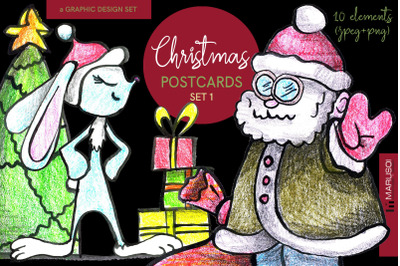 Mischievous CHRISTMAS postcards. Set 1