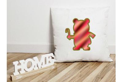 Bear Applique Design, Christmas Embroidery Design, Holiday Applique